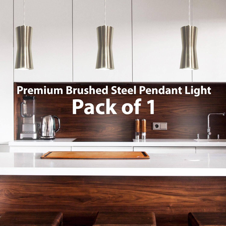Modern Hanging Ceiling Pendant Light – Brushed Steel Kitchen Lamp Bulb Fittings