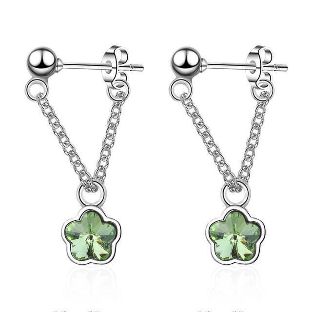 18K Gold Plated Crystal Flower Drop Dangle Butterfly Earrings Women Jewelry Gift