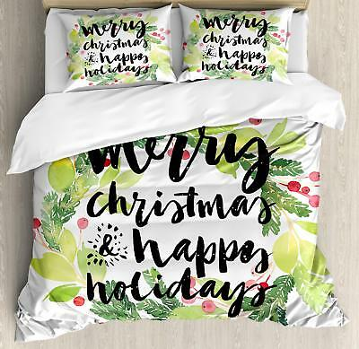Festive Holiday Duvet Cover Set Twin, Queen Size Holiday Bedding