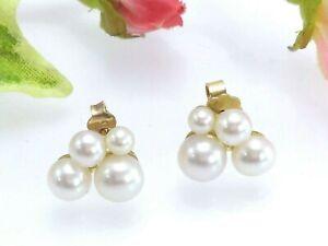 18-Ct-Gold-Pendientes-de-cluster-de-perlas-de-cuatro-en-Caja-de-Regalo-firmado-CB