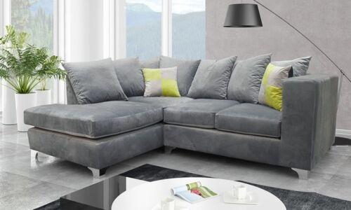 *** BRAND NEW*** Lush Modern Grey Black Fabric Corner Sofa Cheap LEFT RIGHT 3 2