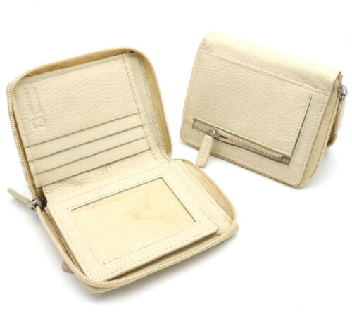 Bifold Light Beige Genuine Leather Zip-Around Wallet with Outer Zipper Pocket