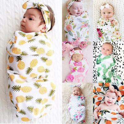 Newborn Infant Baby Swaddle Blanket Soft Sleeping Swaddle Muslin Wrap+Headband A