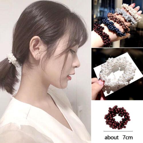 Women Hair Accessories Pearls Headbands Ponytail Holder Girls Scrunchies Rubber