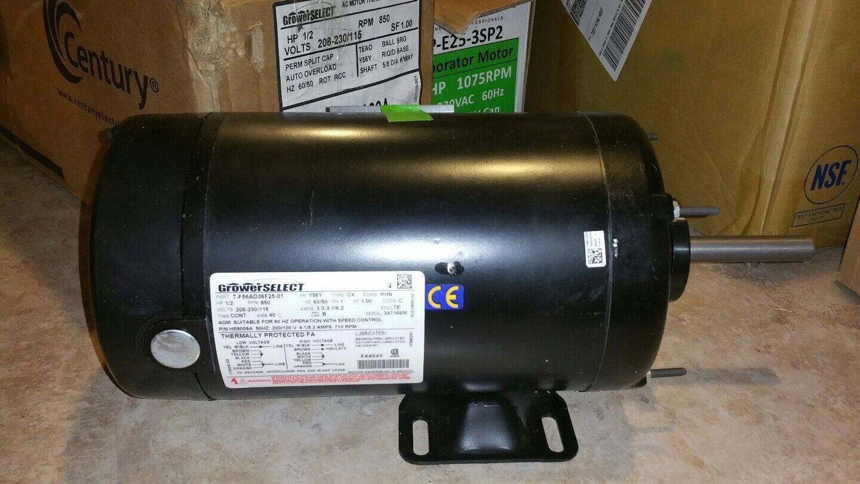 NEW Grower Select 1 2 HP  Fr Y56Y PH 1 208-230 115 RPM 850 HS9009A F56AD36F25