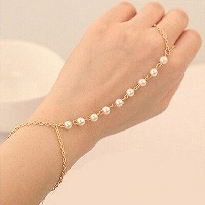 Vintage Lady Bracelet Bangle Slave Chain Finger Ring Harness Gold Hand Pearl