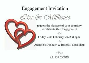 50 invites - Engagement Invitation Cards - Various Designs to choose from