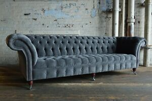 Modern Handmade Large 4 Seater Slate Grey Velvet Chesterfield Sofa