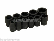 "11 Piece Anti Slip Twist Socket Set in Case  For Damaged Nuts - 3/8"" Drive"