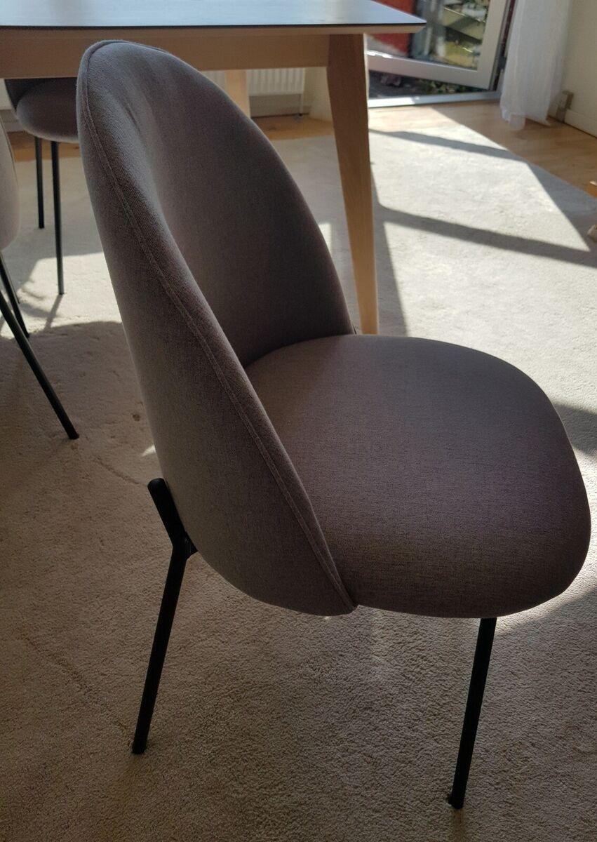 Spisebordsstol, 6 Spisebordsstol DYBVAD lysegråsort, Ny p