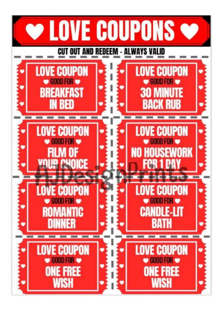 Love Valentines Day Coupons Vouchers Couple For Her Him Gift Present Funny