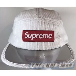 cfa1b128 New 2017 Supreme NYC Pique Angler WHITE RED Camp Cap Hat See Thru ...