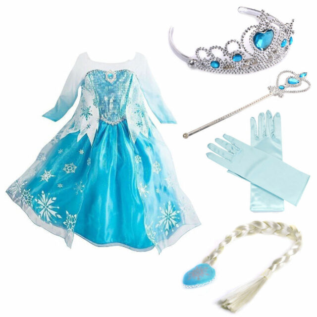 Robe Déguisement Costume La Reine des Neiges  Enfant Fille_NEUF)()