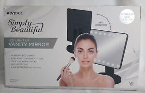 Vivitar New Light Up Led Vanity Mirror Caddy Cordless Touch Screen Swivel Black 681066149416 Ebay