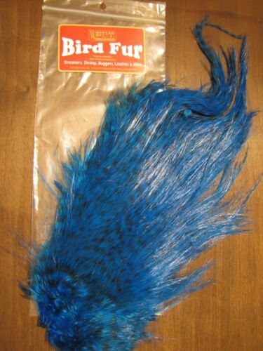 Fly Tying-Whiting Farms Spey Bird Fur Grizzly dyed Kingfisher Blue