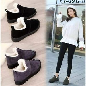 Women-Casual-Flat-Warm-Thicken-Ankle-Boots-Slip-On-Splice-Winter-Ankle-Boots-WX