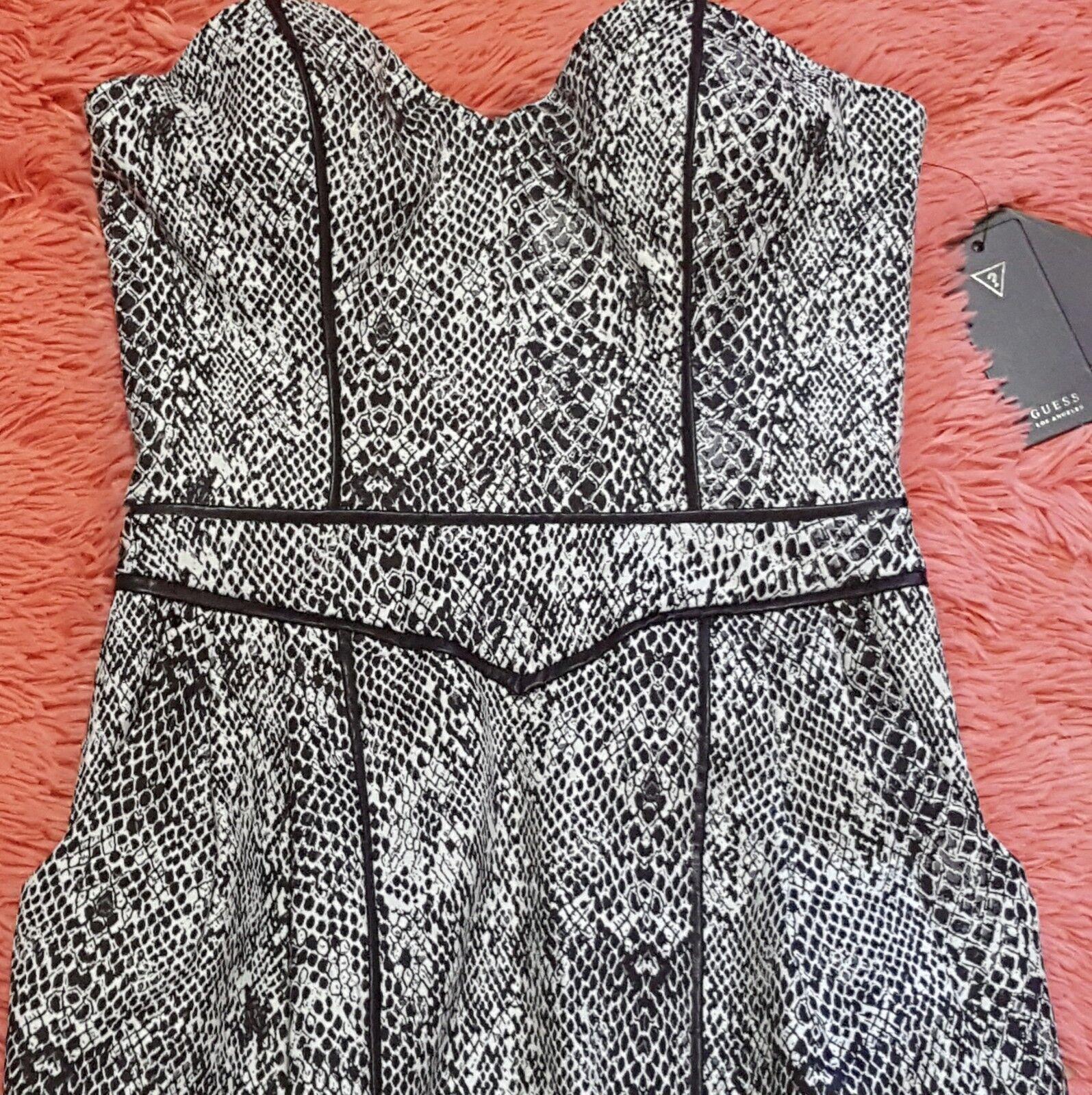 NEW GUESS Sz 0 Dress STRAPLESS SNAKE TULIP  schwarz Weiß Exposed Zipper BONED