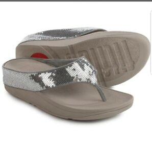 dd7fa8b5161e6d Fitflop Ringer Wedge Flip Flops Silver Sequin Womens Sandals Size 7 ...