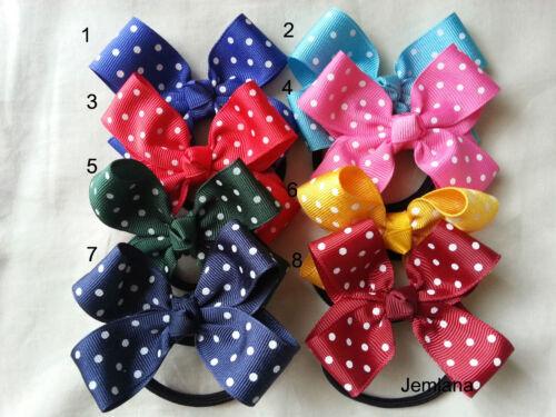 Jemlana/'s handmade polka dot  hair ties for school girls..