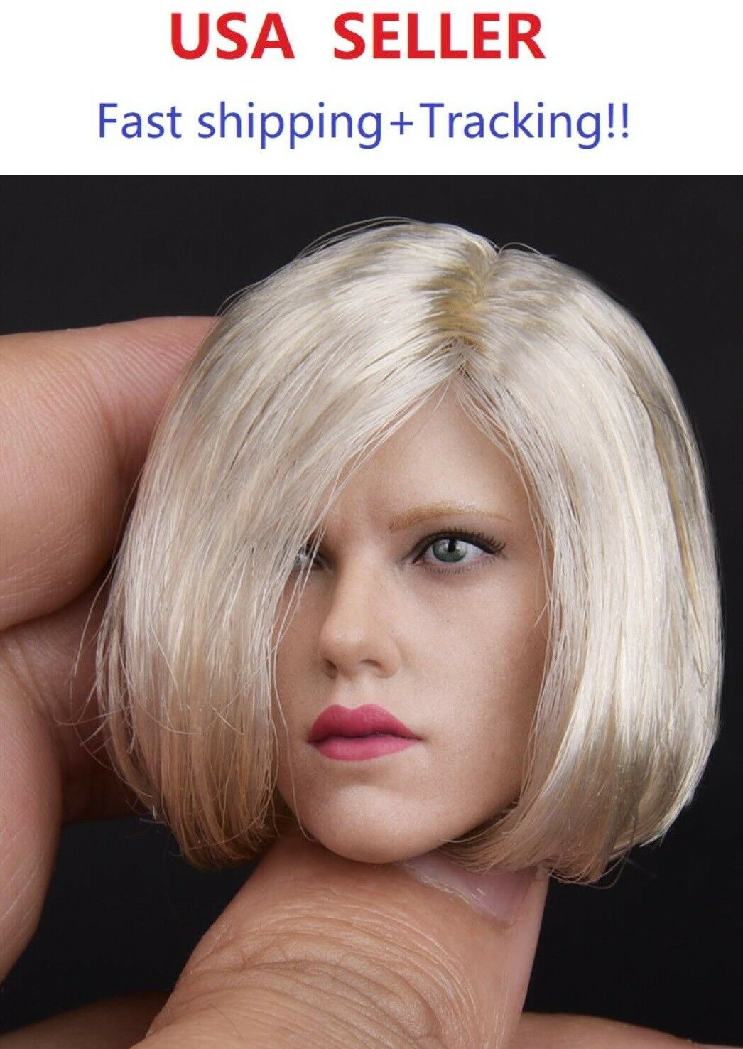 JX toys 1 6 6 6 Scale Scarlett Johansson w  blonde SHORT hair Head Sculpt for Phicen 37b3df