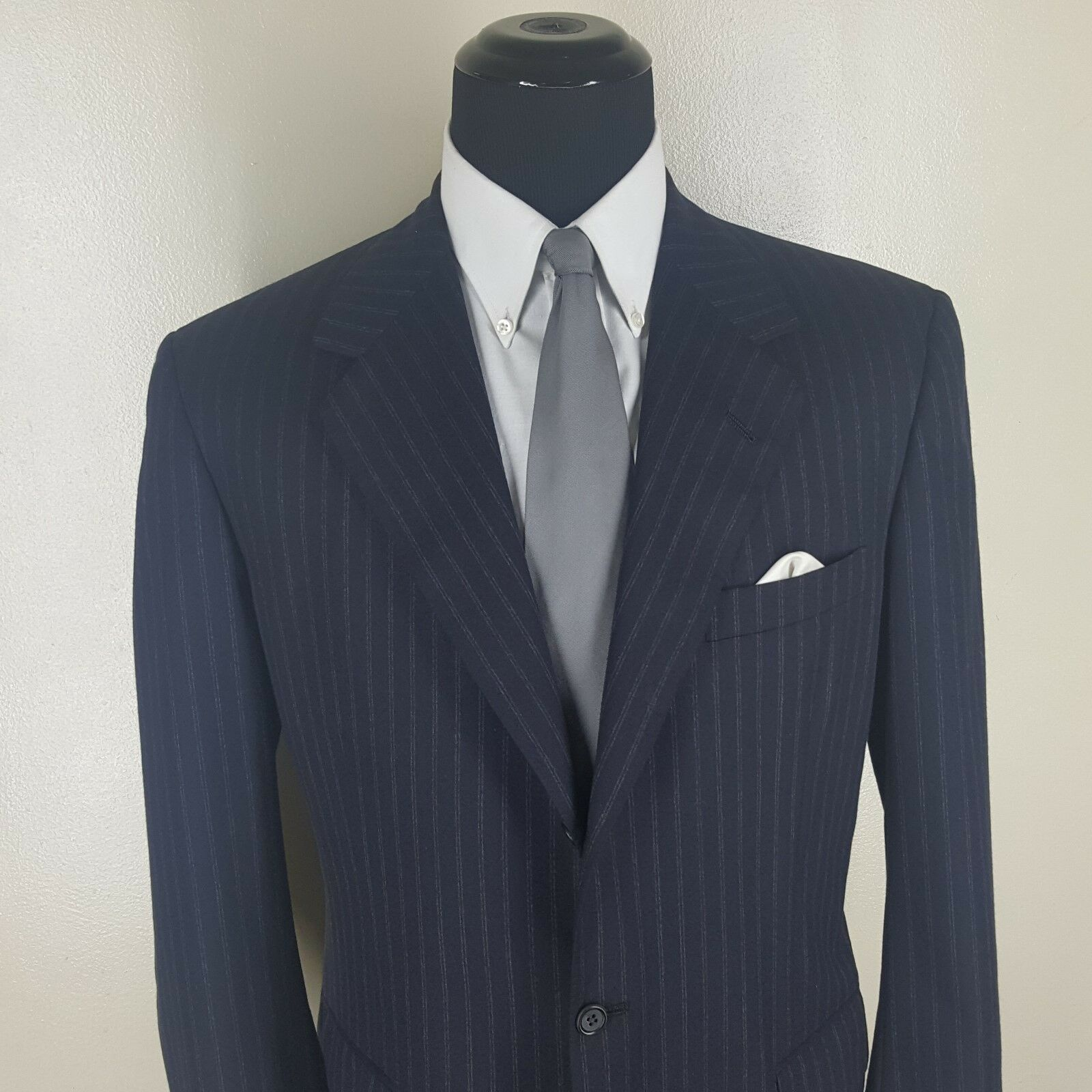 OXXFORD Super 100's  Blau Striped Sport Coat 3 Btn Center Vent  43R  Fit 43-45 R