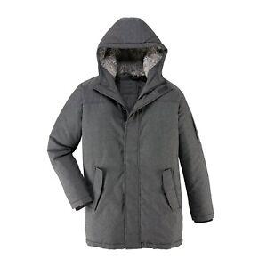 Mens Jackets Parka Parker Padded Lined Winter Jacket Faux Fur Hooded Warm Coat