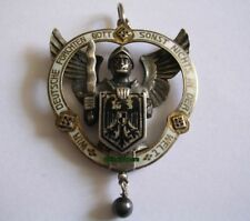 Patriotika Anhänger Bismarck Deutsche fürchten Gott 800 Silber Email Hermeling