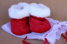 Bearington Bears Baby Baby Santa's Red and  White  Booties NEW Adorable