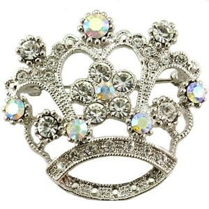 Princess-Crown-Tiara-Brooch-Pin-White-Clear-Stone-Crystal-Wedding-Bridal-Jewelry