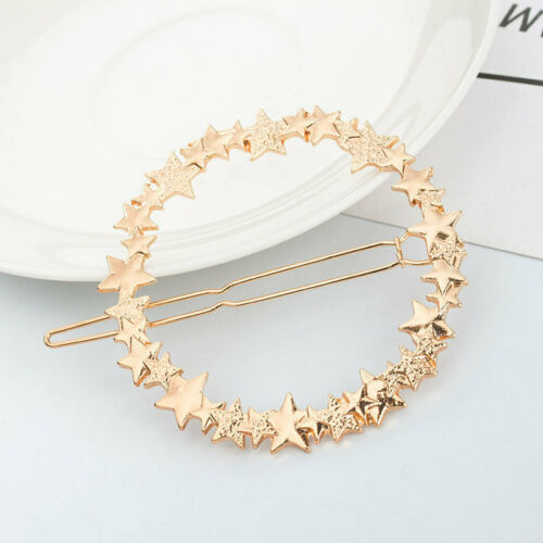 Round Star Hair Clips Metal Hair Barrette Slide Grips Hairpin Clamp Round Clips