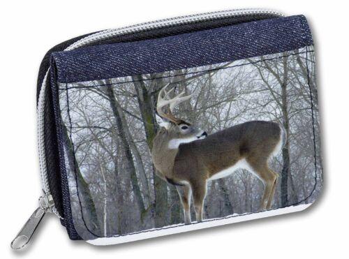 Deer Stag in Snow Girls//Ladies Denim Purse Wallet Christmas Gift Idea ADE-1JW