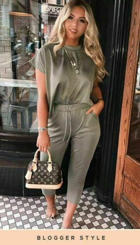 Ladies Short Sleeve Women Boxy Suit Check Jogger Top Lounge Wear Tracksuit Set