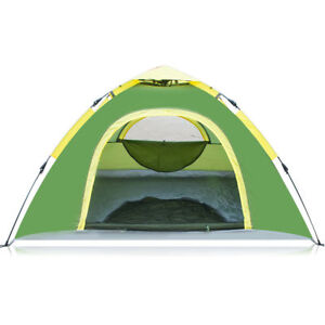 Image is loading Waterproof-3-4-People-Automatic-Instant-Pop-Up-  sc 1 st  eBay & Waterproof 3-4 People Automatic Instant Pop Up Tent Green Camping ...