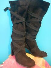 Shellys black suede strappy lace tie up slouch pirate knee high boots