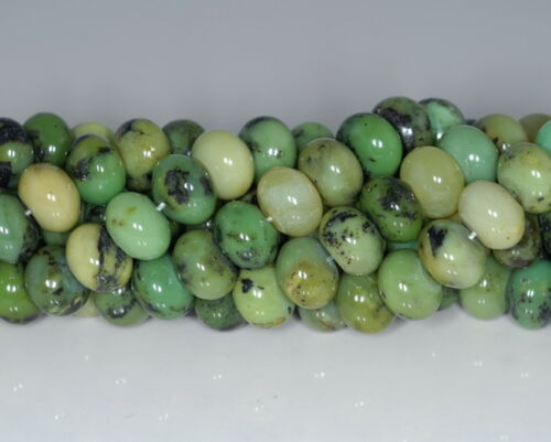 10X6MM GREEN CHRYSOPRASE GEMSTONE GRADE AA RONDELLE LOOSE BEADS 7.5/""