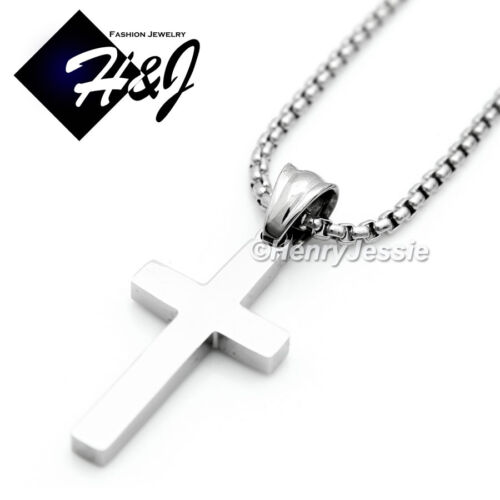 """16-30/""""Stainless Steel 1.5mm Gold//Silver Smooth Box Link Chain Cross Pendant*P67"""