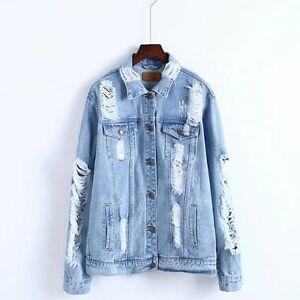 6de7a5a822e4 UK Women s Shirt Collar Cotton Long Distressed Rips Denim Jean ...