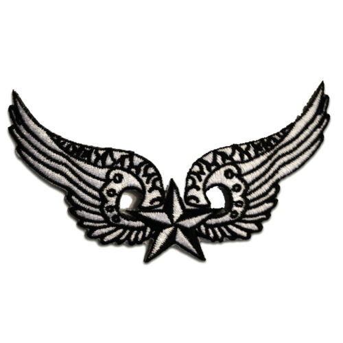 Application badges Iron on patches 11,7x7,0cm wings with Star white