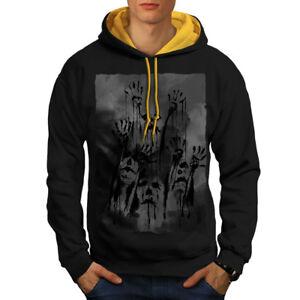 dorée Sweatshirt Ghost Hommes Contrast Apocalypse Nouveau Noir Zombie capuche BIwI8qxP