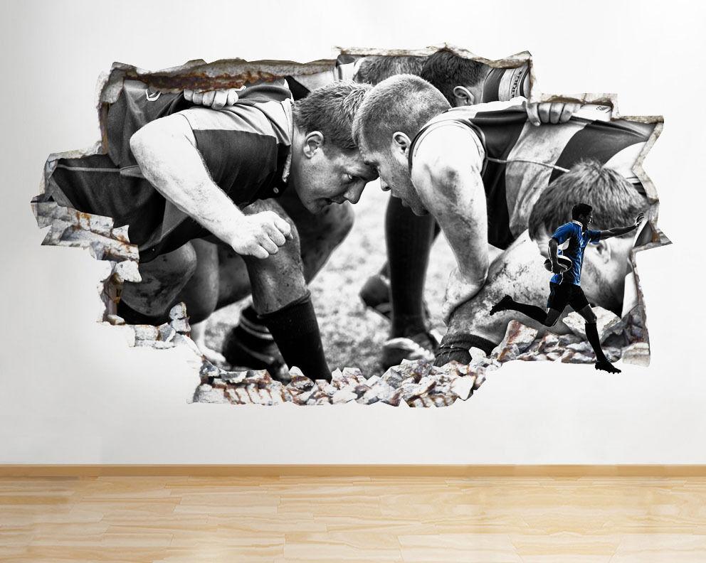 Q146 Rugby Scrum jugadores Sport Kit r pegatina pared vinilo 3d habitación niños