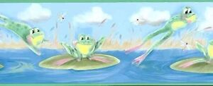 Leap-Frogs-with-Lily-Pads-Wallpaper-Border-IT7569B
