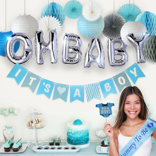 MEANT2TOBE Blue White Grey Baby Boy Baby Shower Decorations // Grey Elephant Baby Shower Its A Boy Party Decor Garland Banner |Photo Props and Decor Blue Baby Shower Decorations for Boy