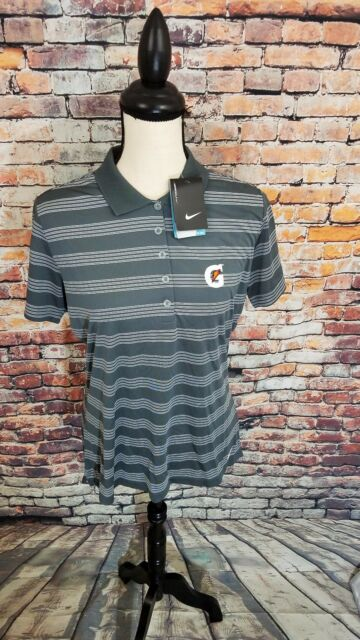 NWT Nike Golf Dri Fit Grey Stripe Athletic GATORADE LOGO Golf Polo Shirt L NEW