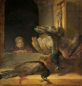 Still Life with Peacocks by Rembrandt A1+ High Quality Canvas Art Print