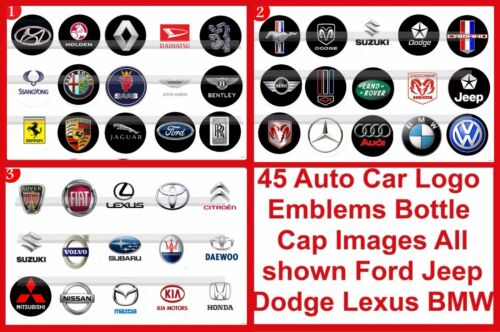 Auto Cars Logos Emblems Dodge Ford Mustang Chevy BENZ 45 Precut BottleCap Images