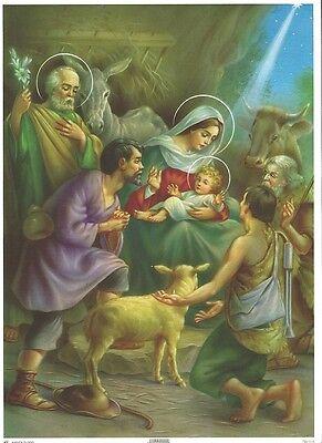 Catholic Print Picture NATIVITY Christmas Mary Baby Jesus Shepherds  -from Italy