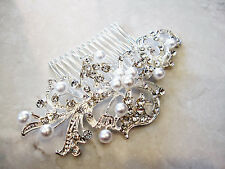 Crystal and  pearl silver hair comb  barrette  clip bridal clip silver bridal ba