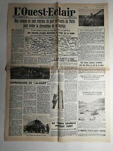 N426-La-Une-Du-Journal-L-039-ouest-eclair-15-juin-1940-troupe-retirer-Paris-capital