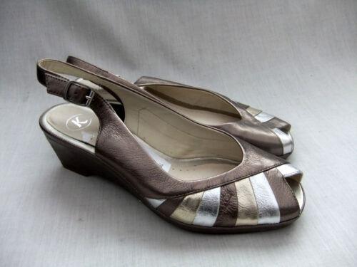 cuña mujer sandalias Stripes K Wide Fit cuero para 38 Nuevas con metalizado 5 de Bee Clarks 1EdCq6x0w