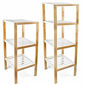 Image Is Loading 3 4 Tier Freestanding Bamboo Bathroom Storage Unit